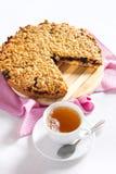 Torta grattata con una tazza di tè Fotografia Stock