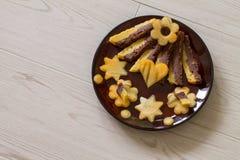 Torta húmeda con la naranja y el chocolate Imagen de archivo