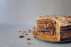 Torta hecha en casa hecha con crema, las nueces y la pasa en la bandeja de madera fotografía de archivo libre de regalías