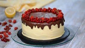 Torta hecha en casa con las bayas rojas almacen de video