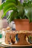 Torta hecha en casa de la crema del chocolate Fotos de archivo libres de regalías