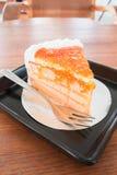 Torta hecha en casa de la mermelada anaranjada fotografía de archivo