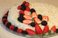 Torta hecha en casa de napoleon adornada con las bayas Fotografía de archivo