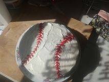 Torta hecha en casa del béisbol yum Imagen de archivo