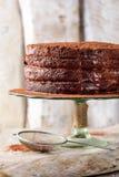 Torta hecha en casa del chocolate Fotos de archivo