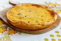 Torta hecha en casa del queso y de las pasas de cabra foto de archivo