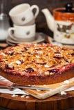 Torta hecha en casa deliciosa del ciruelo de la migaja imagen de archivo