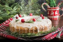 Torta hecha en casa tradicional de la Navidad con el arándano y el romero de la guarnición en la placa decorativa Pulverización c fotografía de archivo