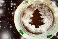 Torta hecha en casa tradicional de la Navidad del chocolate asperjada con el polvo del azúcar, decoración del árbol del Año Nuevo Fotografía de archivo libre de regalías