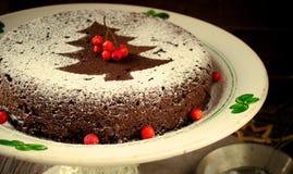 Torta hecha en casa tradicional de la Navidad del chocolate asperjada con el polvo del azúcar, decoración del árbol del Año Nuevo Foto de archivo libre de regalías