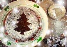 Torta hecha en casa tradicional de la Navidad del chocolate asperjada con el polvo del azúcar, decoración del árbol del Año Nuevo Imagen de archivo libre de regalías