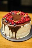 Torta hecha a mano con las bayas para el cumpleaños todo el mundo Fotografía de archivo libre de regalías