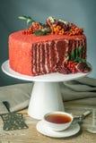Torta hermosa del terciopelo adornada en el top con el serbal y la granada en una tabla de madera Concepto todavía del otoño de v Foto de archivo libre de regalías