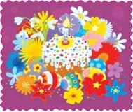 Torta, huevos y flores de Pascua libre illustration