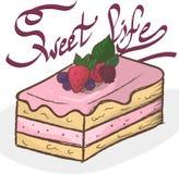 Torta isolata Cardi la vita dolce Fotografie Stock