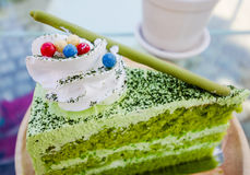 Torta japonesa del té verde del matcha imagenes de archivo