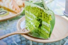 Torta japonesa del té verde del matcha imagen de archivo libre de regalías