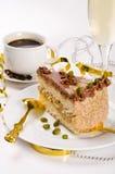 Torta, Kaffe y champán de Halva Imágenes de archivo libres de regalías