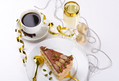 Torta, Kaffe y champán de Halva Fotografía de archivo libre de regalías