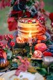 Torta nunziale in autunno con i frutti Immagini Stock Libere da Diritti