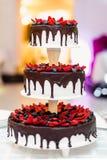 Torta nunziale in cioccolato con le fragole ed i mirtilli Fotografie Stock