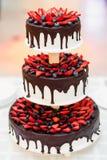 Torta nunziale con le fragole ed i mirtilli nella glassa del cioccolato Fotografia Stock Libera da Diritti