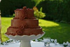 Torta nunziale del cioccolato con le ciliege Fotografia Stock Libera da Diritti