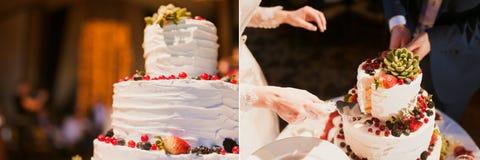 Torta nunziale del taglio dello sposo e della sposa Immagine Stock Libera da Diritti
