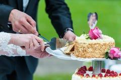 Torta nunziale del taglio dello sposo e della sposa fotografie stock