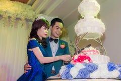 Torta nunziale di taglio delle coppie di nozze Immagine Stock