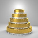Torta nunziale dorata Immagini Stock Libere da Diritti