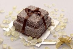 Torta nunziale meravigliosamente ghiacciata con glassa bianca e marrone immagini stock