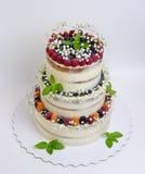 Torta nunziale stratificata tre con le bacche e le foglie del basilico Fotografia Stock Libera da Diritti
