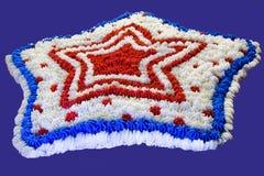 Torta patriottica della stella rossa, bianca e blu Fotografie Stock