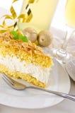 Torta plana con una almendra y un azúcar Fotografía de archivo libre de regalías
