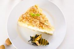 Torta plana con una almendra y un azúcar Foto de archivo libre de regalías