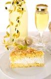 Torta plana con una almendra y un azúcar Imagen de archivo libre de regalías