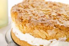 Torta plana con una capa de la almendra y del azúcar Imagenes de archivo