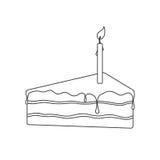 Torta preta isolada do esboço do bolo de esponja do aniversário com a luz do chocolate e da vela no fundo branco Imagem de Stock Royalty Free