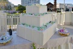 Torta quadra di matrimonio Stock Image