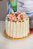 Torta que adorna tulipanes Fotos de archivo