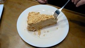 Torta que es cortada con la bifurcación en la placa blanca y comida Fotografía de archivo libre de regalías