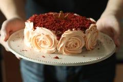 Torta roja del terciopelo Imagen de archivo