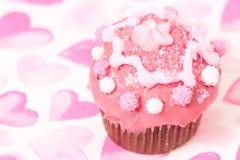 Torta rosada de la taza Foto de archivo