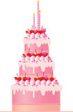 Torta rosada festiva Imágenes de archivo libres de regalías
