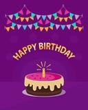 Torta rosada linda con un ` del feliz cumpleaños del ` de la vela, de la guirnalda y del texto aislado en el fondo violeta Icono  ilustración del vector