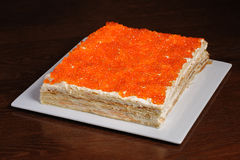 Torta rossa del caviale Immagini Stock
