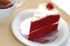 Torta rossa del velluto Immagini Stock