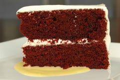 Torta rossa del velluto Immagine Stock