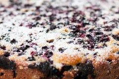 Torta saboroso com os mirtilos na tabela de madeira Imagem de Stock